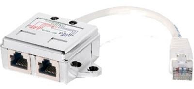 RJ45 Anschlussverdoppler (RJ45-Stecker auf 2x RJ45-Buchse), für 2x100Mbps LAN über RJ45 Kabel