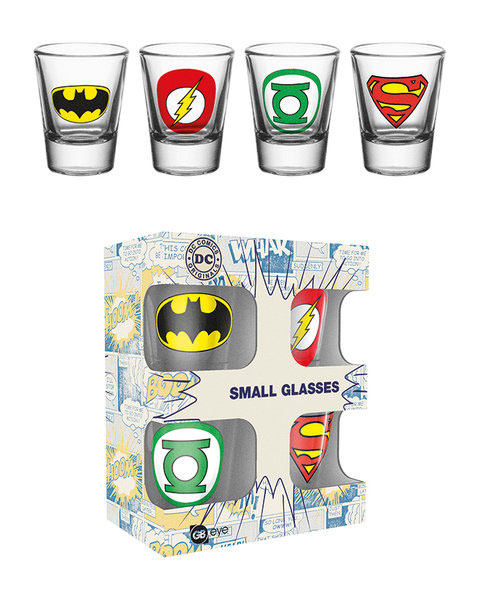DC Comics: Logo Mix - Schnapsgläser 4er-Pack