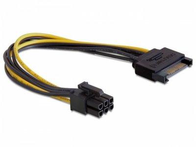 Grafikkarten PCI-Express Stromadapter, 20cm, Sata-Power zu 6Pin Stecker