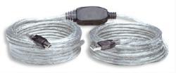 USB Kabel Typ A-B, M/F, 11m, silber, aktiv verstärkt, braucht kein Netzteil