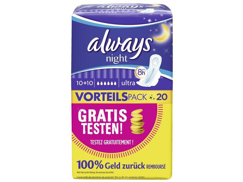 Always Binde Ultra Night 20 Stück, Tageszeit: Nacht, Flügel, Saugstärke: 6, Packungsgrösse: 20 Stück, ActiPearls - Neutralisieren Gerüche