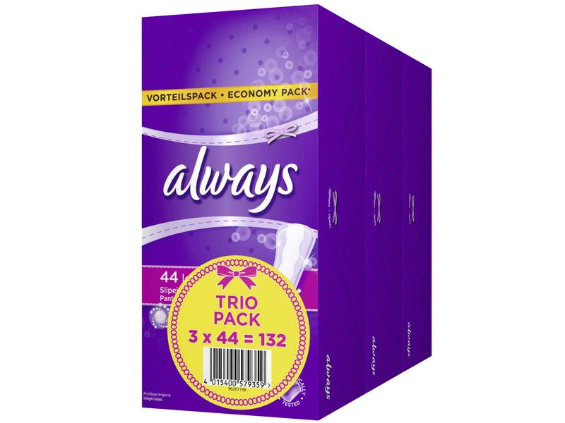Always Slipeinlage Long Trio 132 Stück, Tageszeit: Tag, Packungsgrösse: 132 Stück, Saugstärke: 3, 3 Packungen à 44 Stück, Total 132 Stück, mit ActiPearls