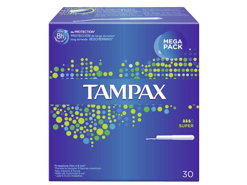 Tampax Tampons Super 30 Stück, Inklusive Applikator: Ja, Inklusive Applikator, Packungsgrösse: 30 Stück, Saugstärke: 3, für mittlere bis starke Tage, jeder Tampon hat eine Verpackung mit Kartonapplikator