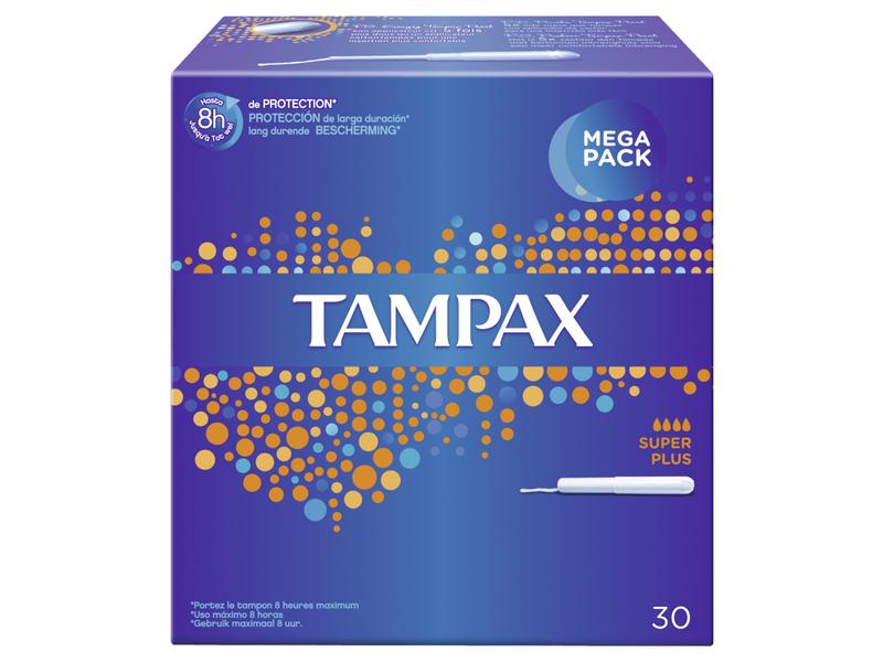 Tampax Tampons Super Plus 30 Stück, Inklusive Applikator: Ja, Inklusive Applikator, Packungsgrösse: 30 Stück, Saugstärke: 4, für besonders starke Tage, jeder Tampon hat eine Verpackung mit Kartonapplikator