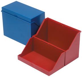 Klein-Karteikasten A6 quer, blau, unbestückt