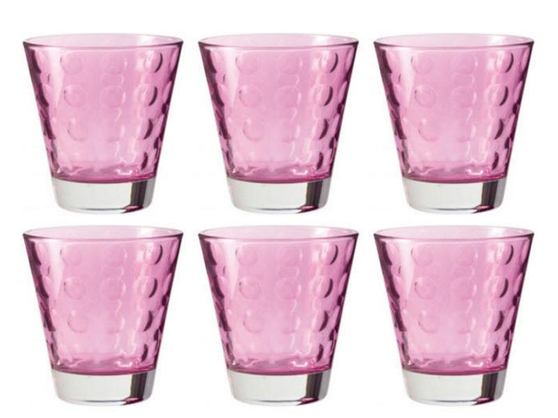 Glas Optic viola 215ml, Glas Typ: Trinkglas, Farbe: Pink; Violett, Verpackungseinheit: 6 Stück, Volumen: 2.15 dl, hohe Widerstandsfähigkeit im Alltag, geeignet für Wasser, Säfte und Softdrinks