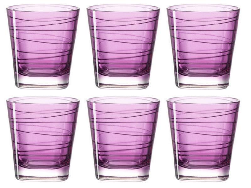 Glas Vario viola 250ml, Glas Typ: Trinkglas, Farbe: Violett, Verpackungseinheit: 6 Stück, Volumen: 2.5 dl, eingepresstes Dekor, geeignet für Wasser, Säfte und Softdrinks