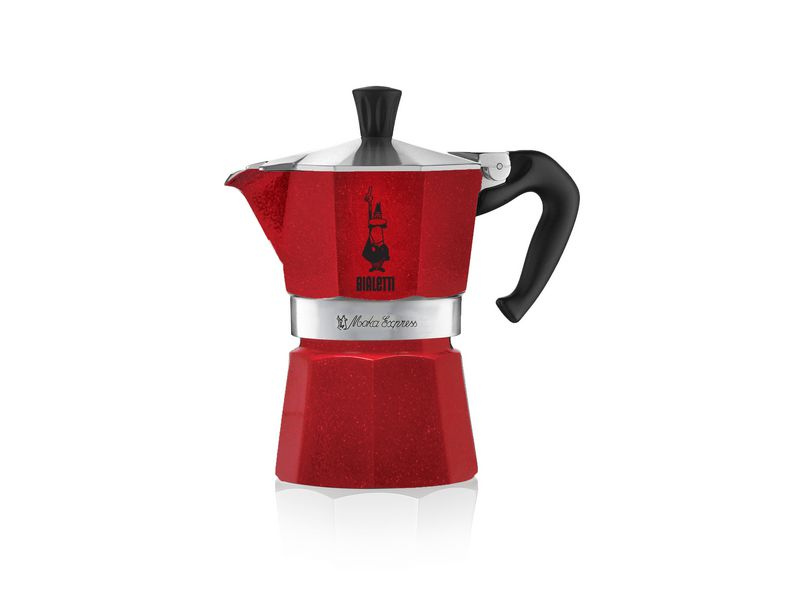 Espressokanne Moka Express Emotion rouge 3 tasse Betriebsart: Manuell, Kompatible Kochfelder: Ceran, Halogen, Elektrisch, Gas, Farbe: Rot, Anzahl Tassen: 3 ×, Diese Version ist nicht für Induktion geeignet