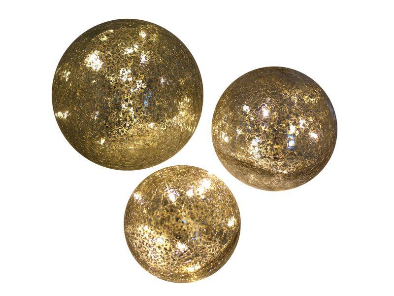 LED Glas-Ball 3er Set gebrochenes Glas Betriebsart: Batteriebetrieb, Leuchtmittel: LED, Aussenanwendung, Anzahl Lampen: 3 ×, Weihnachtsbeleuchtung Typ: Leuchtdekoration, Kapazität Wattstunden: 6, D: 10cm, D: 12cm, D: 15cm