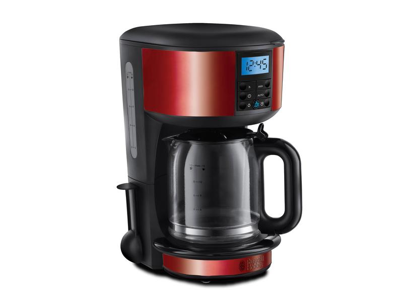 Glas-Kaffeemaschine 20682-56 Farbe: Schwarz, Rot, Anzahl Tassen: 10 ×, Material: Kunststoff, Glas, Ausstattung: Abschaltautomatik, Digital-Display, Warmhaltefunktion
