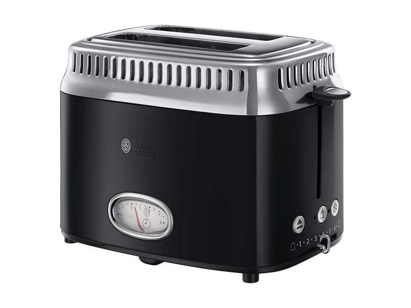 Retro Toaster 21681-56 Farbe: Schwarz, Toaster Ausstattung: Auftaufunktion, Bräunungsgrad-Einstellung, Brötchen-Röstaufsatz, Krümel-Auffangschale, Toaster Kategorie: Klassischer Toaster, Toastscheiben: 2 ×, Retro Countdown-Anzeige û zei