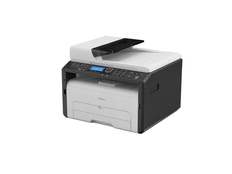 Ricoh Multifunktionsdrucker SP 220SFNw, Verbindungsmöglichkeiten: LAN; NFC; USB 2.0; WLAN, Druckertyp: Schwarz-Weiss, Drucktechnik: Laser, MFP Druckerfunktionen, Total Fassungsvermögen Papierzuführungen: 150 Seiten, Anzahl Papierzuführungen (integrie