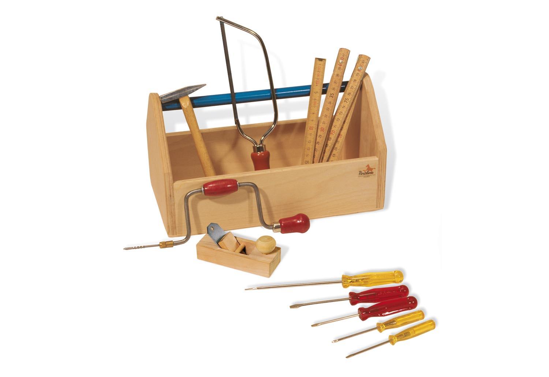 Pinolino Werkzeugkiste mit Werkzeug Alter: ab 5 Jahren, Material: Buche, klar und bunt lackiert, Masse: 32x17x18 cm (LBH), 11-teilig: 5 Schraubendrehern, 1 Hammer, 1 Säge, 1 Zollstock, 1 Hobel, 1 Handbohrer Funktionsfähig