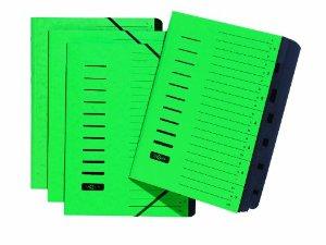 Ordnungsmappe, DIN A4, aus Karton, 7 Fächer, grün