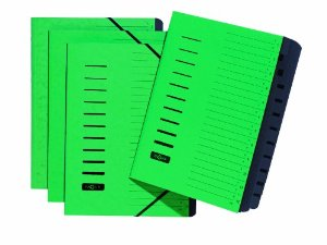 Ordnungsmappe, DIN A4, aus Karton, 12 Fächer, grün