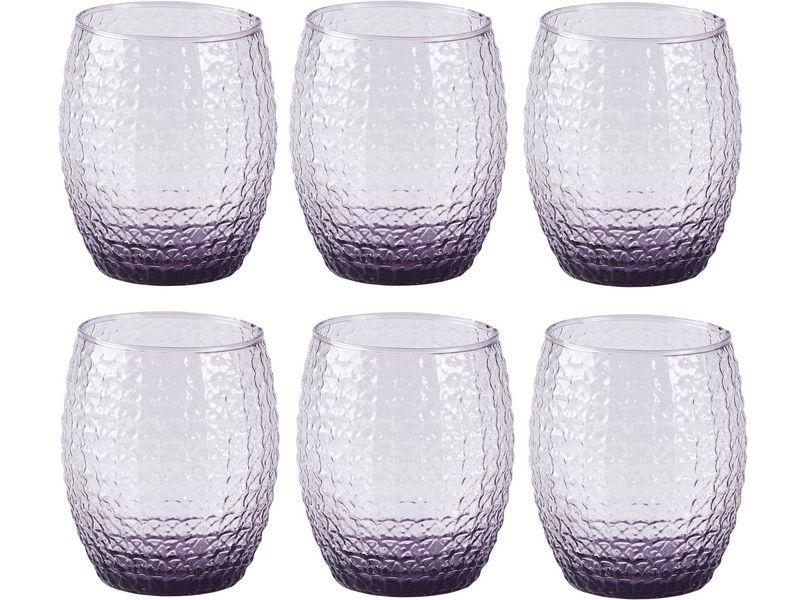 Trinkglas Grooved violett, Glas Typ: Trinkglas, Farbe: Violett, Verpackungseinheit: 6 Stück, Volumen: 0.35 l, Durchmesser Ø 7,5 cm