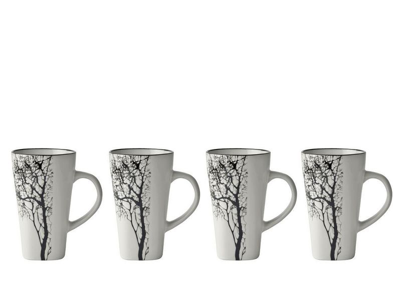 Espressotasse mit Baum, 0.1 l, Tassen Typ: Espressotasse, Farbe: Grau, Material: Stein, Verpackungseinheit: 4 Stück, Volumen: 0.1 l
