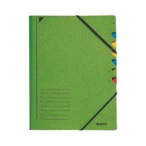Ordnungsmappe, DIN A4, Karton, 7 Fächer, grün