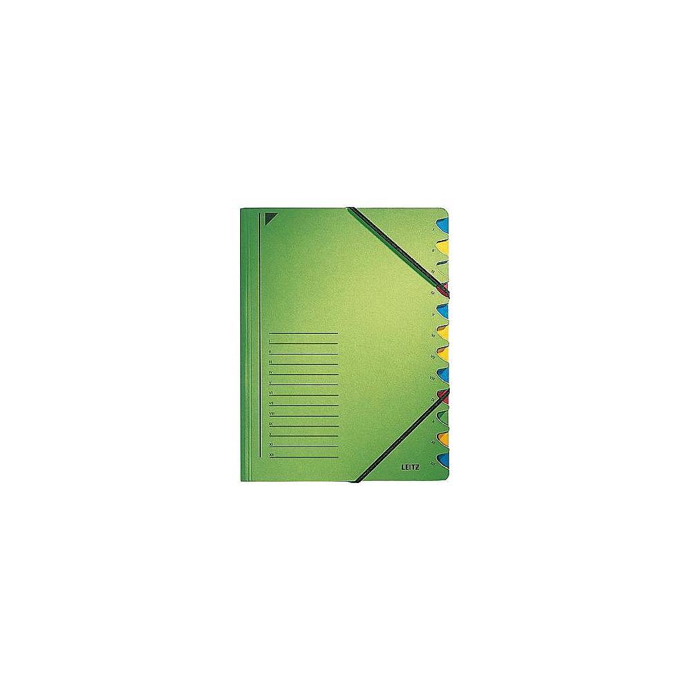 Ordnungsmappe, DIN A4, Karton, 12 Fächer, grün