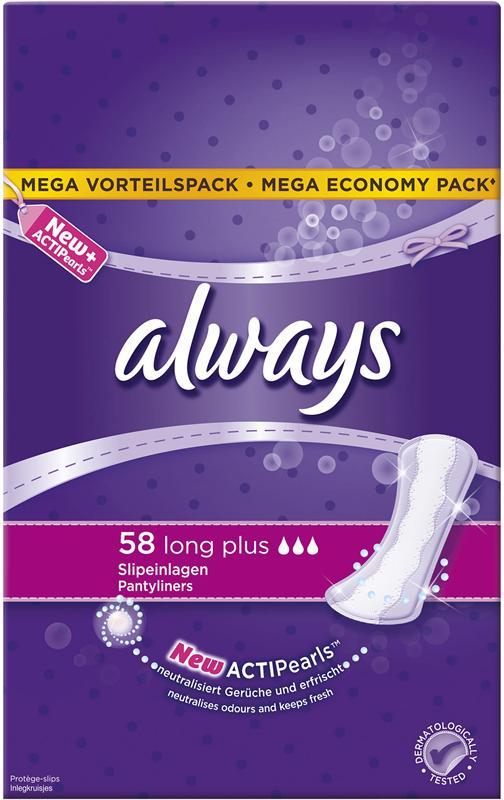 Always Slipeinlage Long Plus 58 Stück, Tageszeit: Tag, Packungsgrösse: 58 Stück, Saugstärke: 3, Megapack, mit ActiPearls - neutralisiert Gerüche und erfrischt