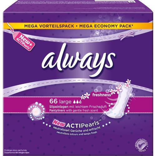 Always Slipeinlage Large Fresh 66 Stück, Tageszeit: Tag, Packungsgrösse: 66 Stück, Saugstärke: 2, Megapack, mit ActiPearls - neutralisiert Gerüche und erfrischt