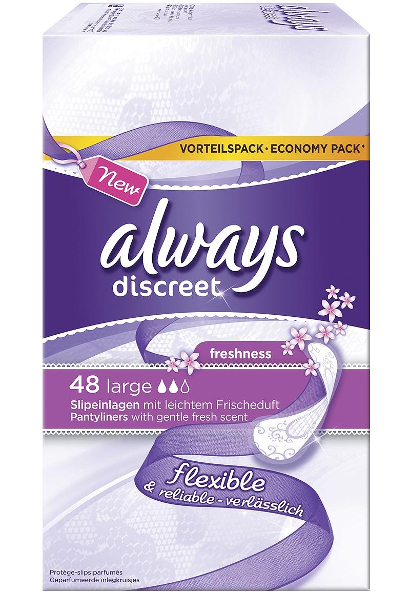 Always Slipeinlage Twist & Flex Large Fresh Discreet 48 Stück, Tageszeit: Tag, Packungsgrösse: 48 Stück, Saugstärke: 2, Vorteilspack, passt sich jeder Bewegung an