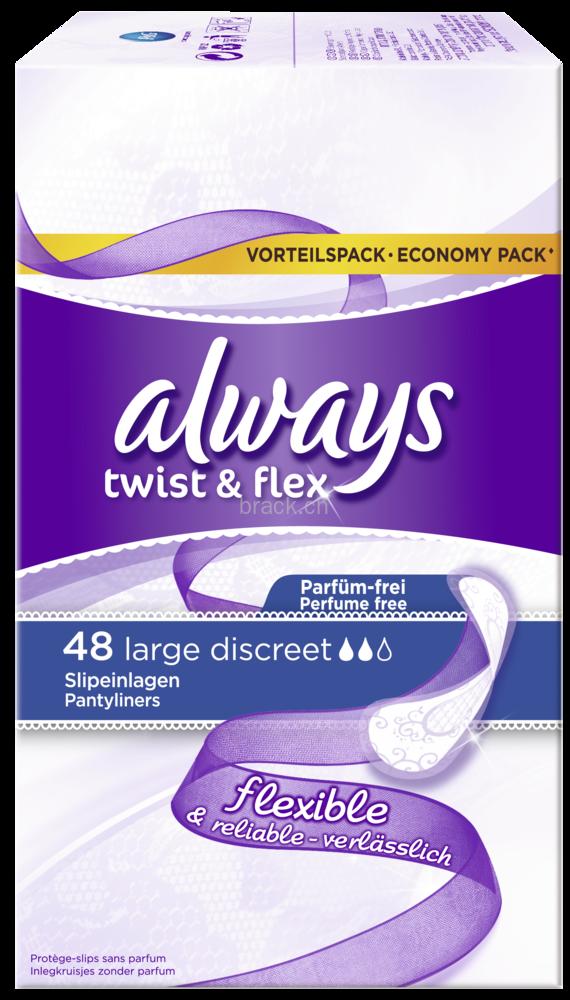 Slipeinlage Twist & Flex Large Discreet Vorteilspack 48, Testwochen, Packung à 48 Stück,
