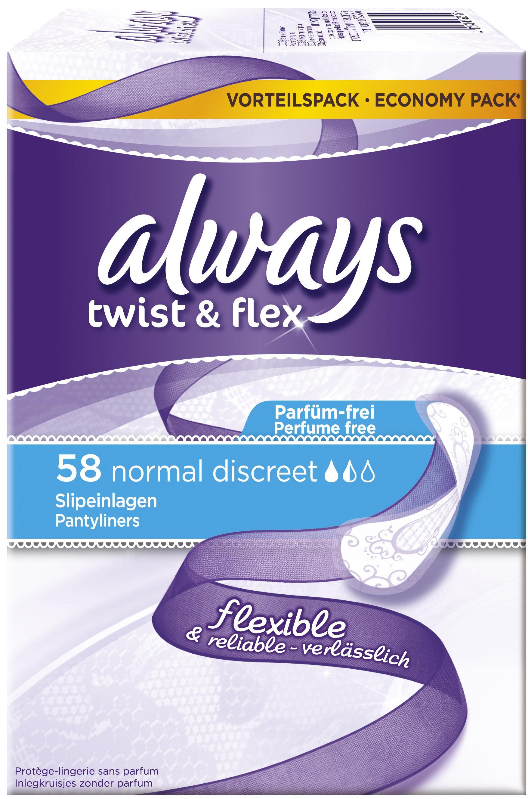 Slipeinlage Twist & Flex Normal Fresh Discreet Vorteilspack 58, Testwochen,