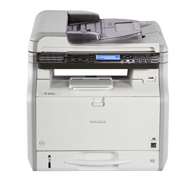 Ricoh SP 3610SF, Schwarzweiss Laser Drucker, A4, 30 Seiten pro Minute, Drucken, Scannen, Kopieren, Fax, Duplex