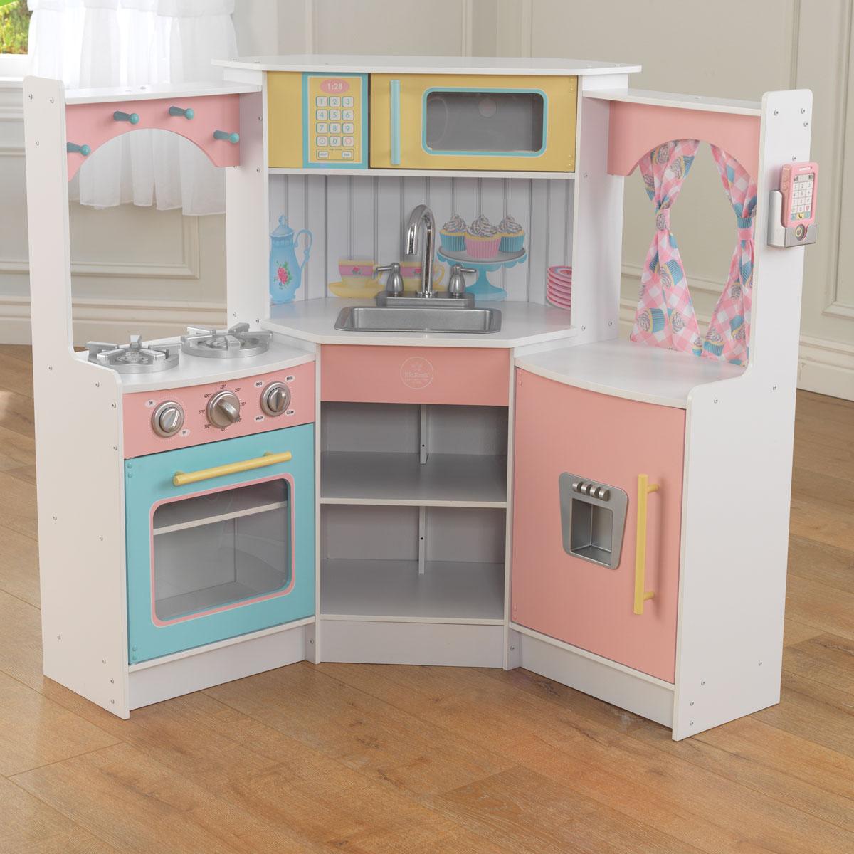 Kid Kraft Deluxe Corner Küche Küchenstil: Eckküche, Küchenausstattung: Ofen, Herd, Spülbecken, Mikrowelle, Kühlschrank, Material: Holz