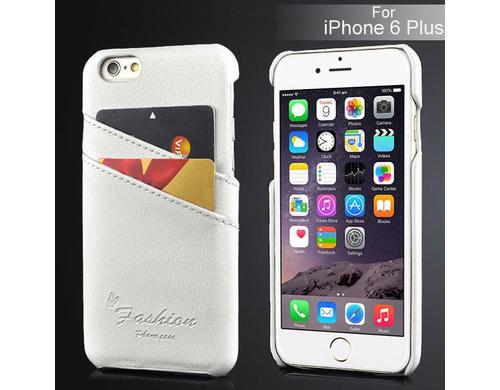 Kunstleder Back Case für iPhone 6 Plus weiss, Schützt das iPhone vor Kratzern und Stössen. Mit 2 Kartenfächern.