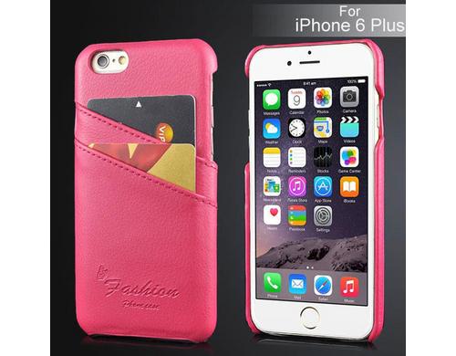 Kunstleder Back Case für iPhone 6 Plus pink, Schützt das iPhone vor Kratzern und Stössen. Mit 2 Kartenfächern.