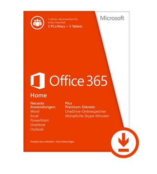 Act Key/Microsoft® Office 365 Home Premium 32-bit/x64 All Languages Subscription ESD Software Download incl. Activation-Key