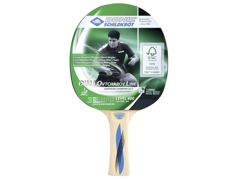 DONIC Schidkröt Tischtennisschläger Ovtcharov 400 Zielgruppe: Anfänger, Material: FSC-Holz, Schwammstärke: 1.6 mm, Griff: konkav, Belag: Jade, CONTROL