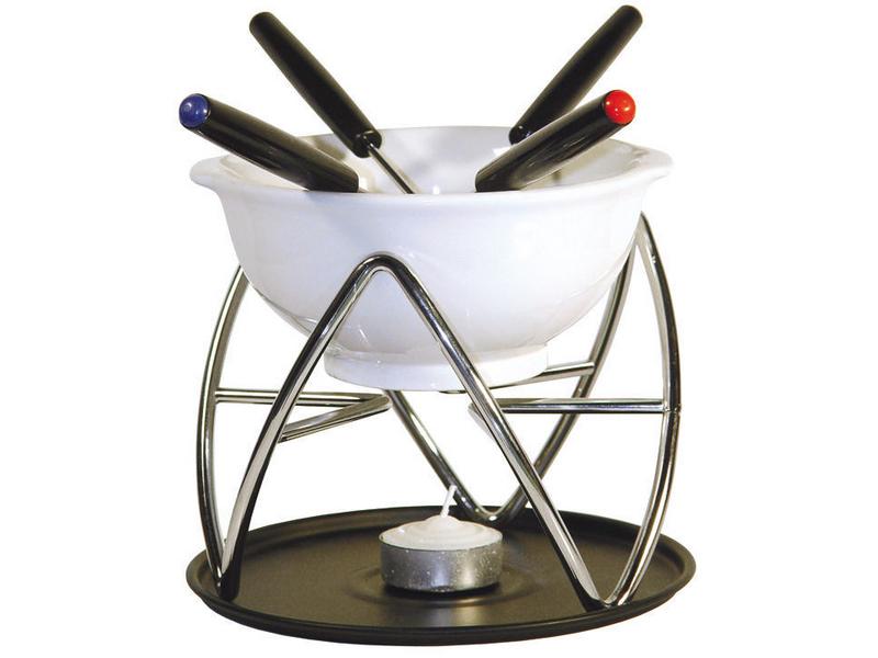 Schokoladen-Fondue, Betriebsart: Rechaudkerze, Anzahl Personen: 4, Farbe: Weiss; Silber, Fondue Variante: Schokoladenfondue