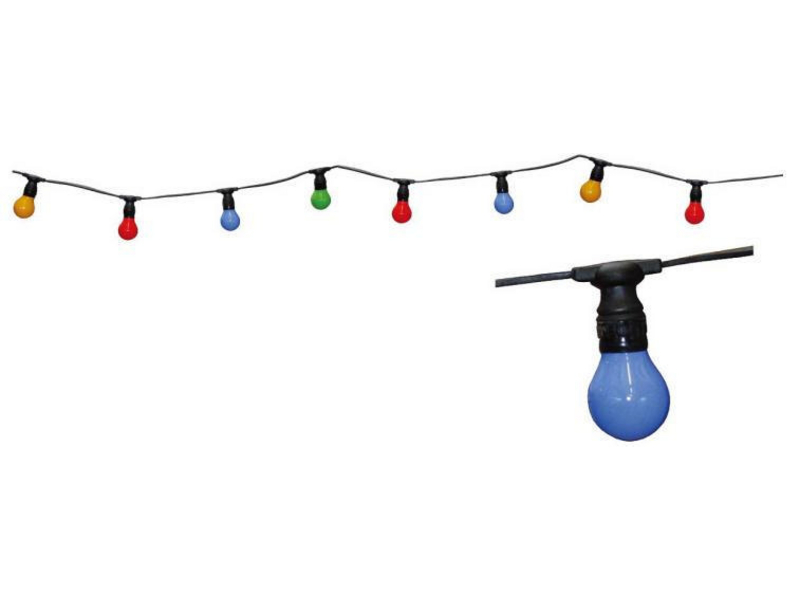 LED Party-Lichterkette 10m, 230V, 5 Farben, E27, IP44, In- und Outdoor, inkl. 10 LED Mini Lampen, 1.2W, Hochwertiges und stabiles Gummikabel, 1.5m Zuleitung, Abstand zwischen den Lampen: 85cm,