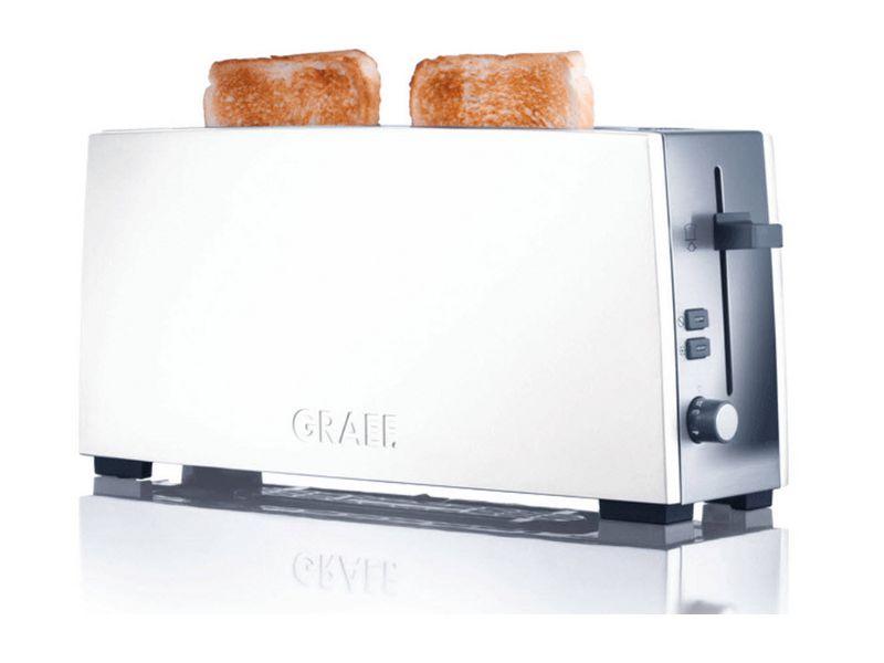 Toaster TO 91 Farbe: Weiss, Toaster Ausstattung: Brötchen-Röstaufsatz, Krümel-Auffangschale, Toaster Kategorie: Langschlitz Toaster, Toastscheiben: 2 ×, Stopp- und Defrost-Taste, Nachhebevorrichtung, Kabelaufwicklung