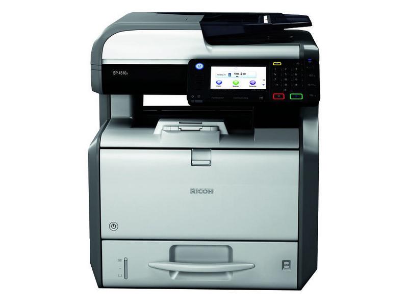 Ricoh Multifunktionsdrucker SP 4510SF, Schwarzweiss Laser Drucker, A4, 40 Seiten pro Minute, Drucken, Scannen, Kopieren, Fax, Duplex