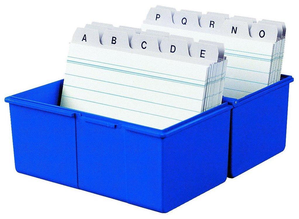 Karteikasten, DIN A5 quer, Kunststoff, blau