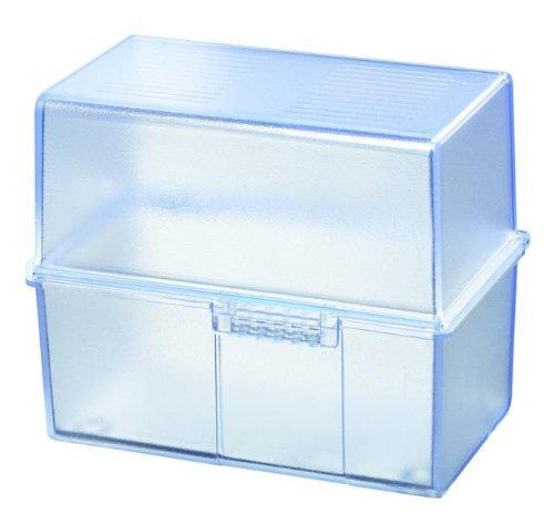 Karteikasten, DIN A5 quer, Kunststoff, blau-transluzent