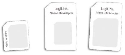LogiLink SIM-Karten-Adapter-Set, Nano / Micro / Standard SIM