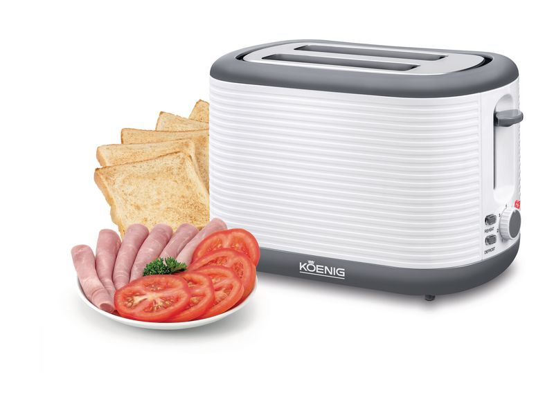 Toaster Stripes Weiss, Grau Farbe: Weiss, Grau, Toaster Ausstattung: Auftaufunktion, Krümel-Auffangschale, Toaster Kategorie: Klassischer Toaster, Toastscheiben: 2 ×