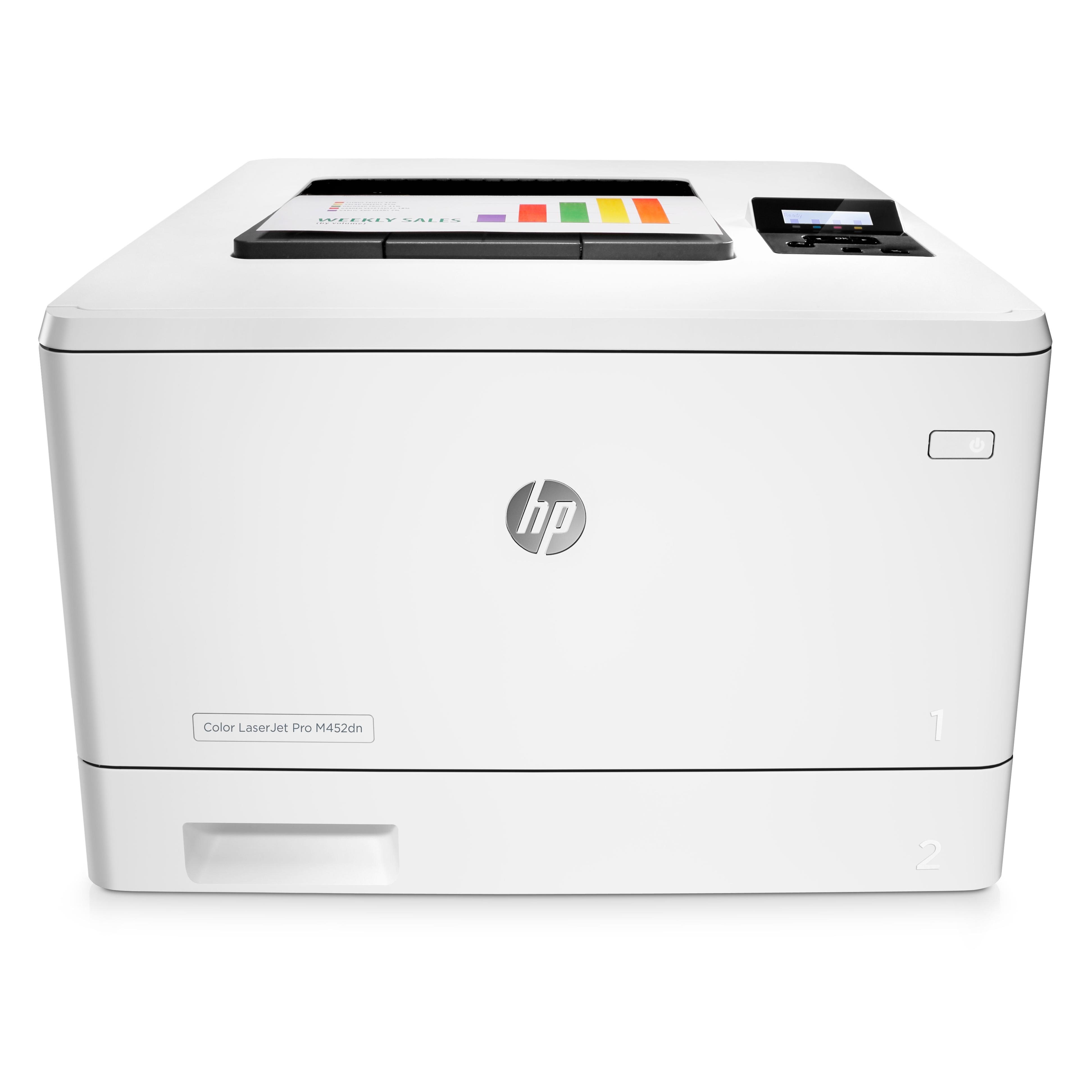 Hewlett-Packard HP Pro M452dn, Farblaser Drucker, A4, 27 Seiten pro Minute, Drucken, Duplex und WLAN