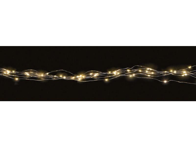 LED-Lichterkette Angel Hair 60 silber Betriebsart: Batteriebetrieb, Lichtfarbe: Warmweiss, Länge: 1 m, Exkl. Batterien, Timer: 6h täglich