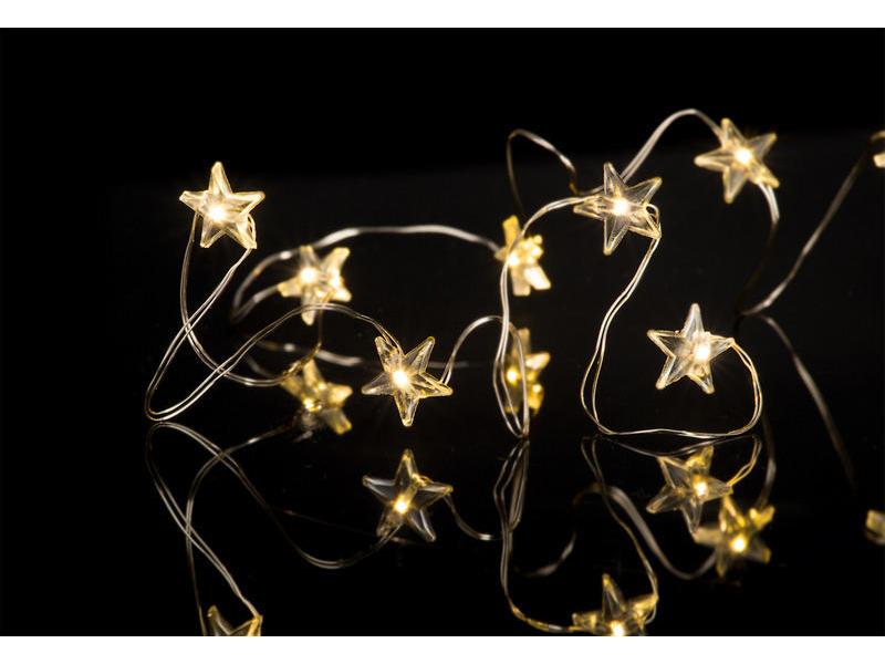 LED Lichterkette Sterne Batteriebetrieben 3xAA (nicht im Lieferumfang enthalten) mit Timerfunktion, Batterien nicht im Lieferumfang