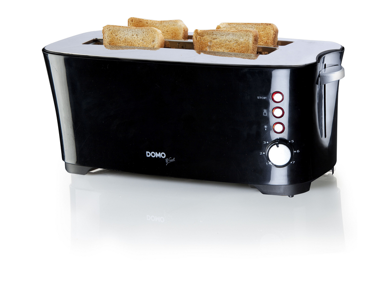 Toaster DO961T Farbe: Schwarz, Toaster Ausstattung: Auftaufunktion, Krümel-Auffangschale, Toaster Kategorie: Langschlitz Toaster, Toastscheiben: 4 ×, 7 Temperaturstände, entnehmbare Krümelschublade