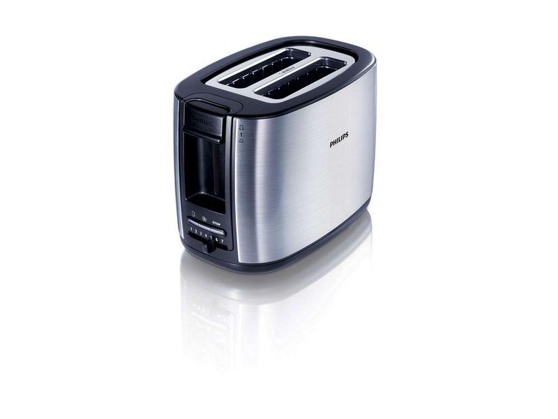 Toaster HD2628/81 Farbe: Silber, Schwarz, Toaster Ausstattung: Auftaufunktion, Aufwärmfunktion, Bräunungsgrad-Einstellung, Krümel-Auffangschale, Toaster Kategorie: Klassischer Toaster, Toastscheiben: 2 ×