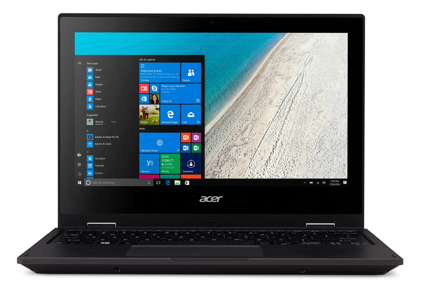 Acer Notebook Travelmate Spin B118, Intel Pentium N4200 Quad-Core, 4GB DDR3 RAM, 128GB SSD, 11.6 Zoll, 1920 x 1080 Pixel, Windows 10 Home