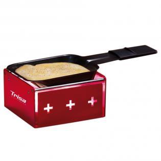 Raclette MyRaclette rot, wird mit vier Rechaudkerzen betrieben, robust und einfach zu