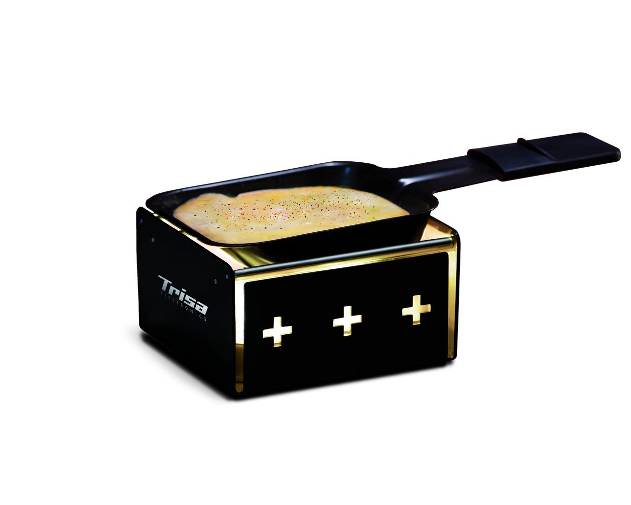 Raclette MyRaclette schwarz, wird mit vier Rechaudkerzen betrieben, robust und einfach zu